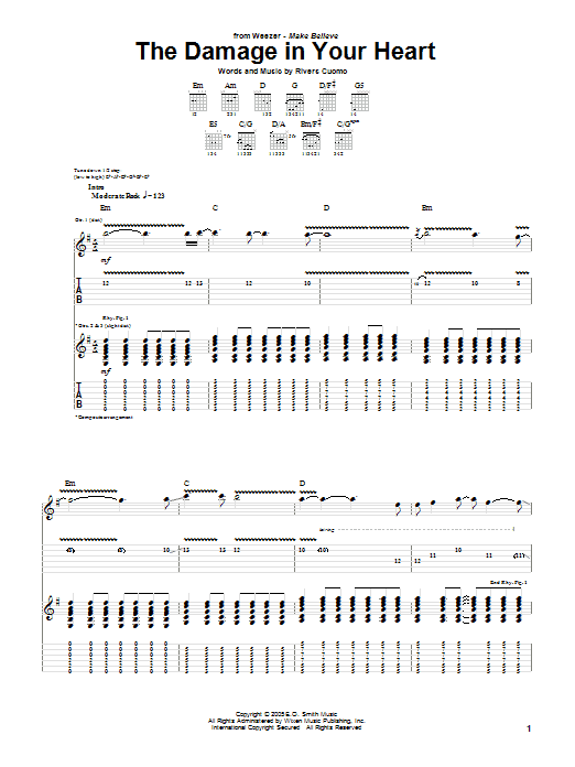 Tablature guitare The Damage In Your Heart de Weezer - Tablature Guitare