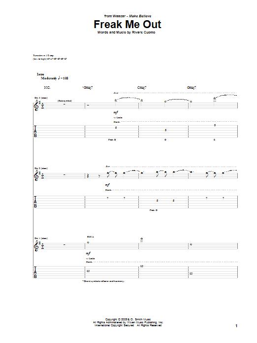 Tablature guitare Freak Me Out de Weezer - Tablature Guitare