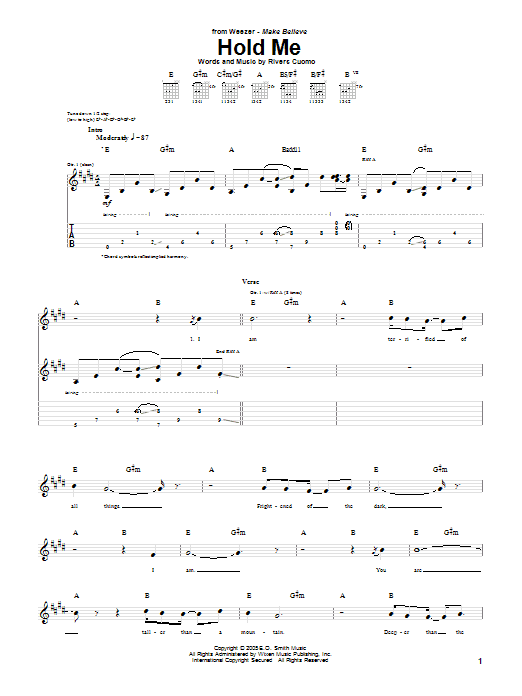 Tablature guitare Hold Me de Weezer - Tablature Guitare