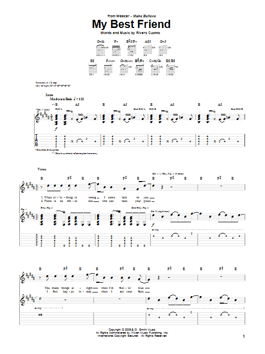 Tablature guitare My Best Friend de Weezer - Tablature Guitare