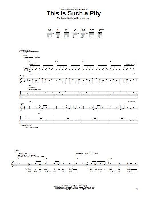 Tablature guitare This Is Such A Pity de Weezer - Tablature Guitare