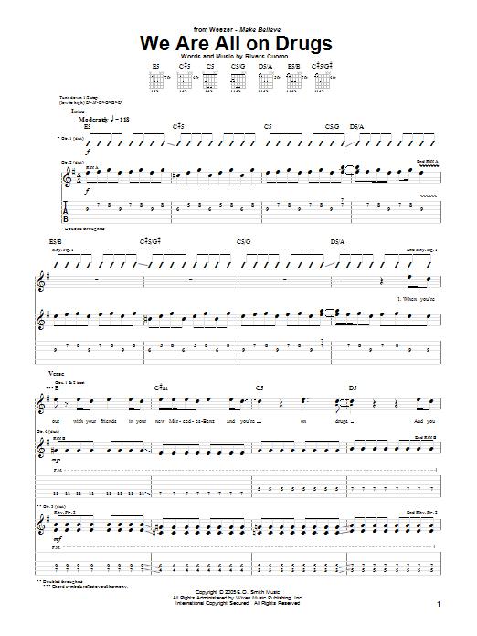 Tablature guitare We Are All On Drugs de Weezer - Tablature Guitare