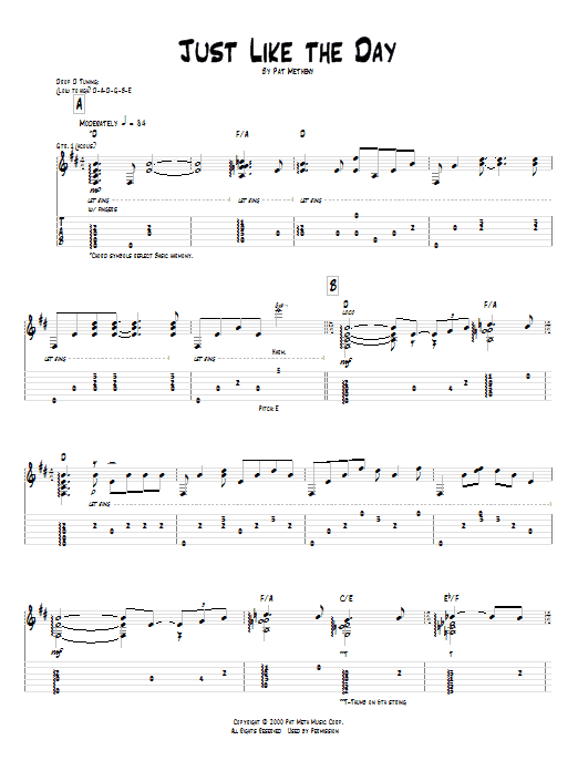 Tablature guitare Just Like The Day de Pat Metheny - Tablature Guitare