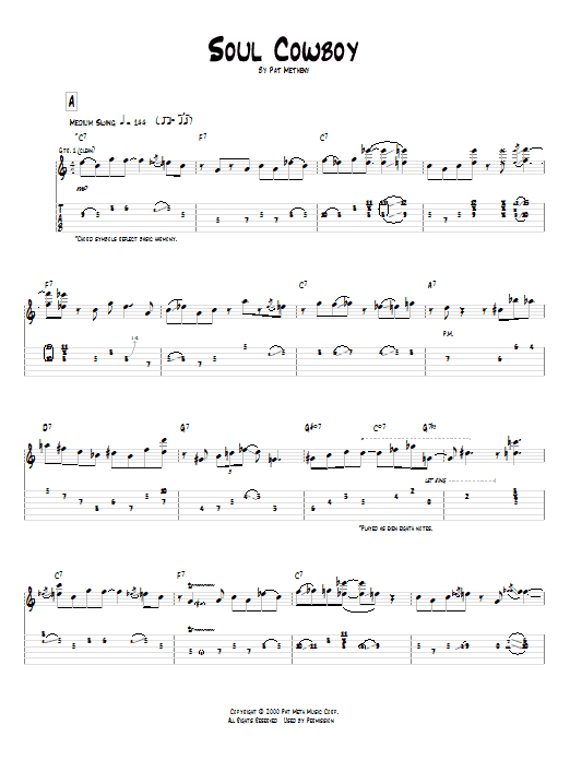 Tablature guitare Soul Cowboy de Pat Metheny - Tablature Guitare