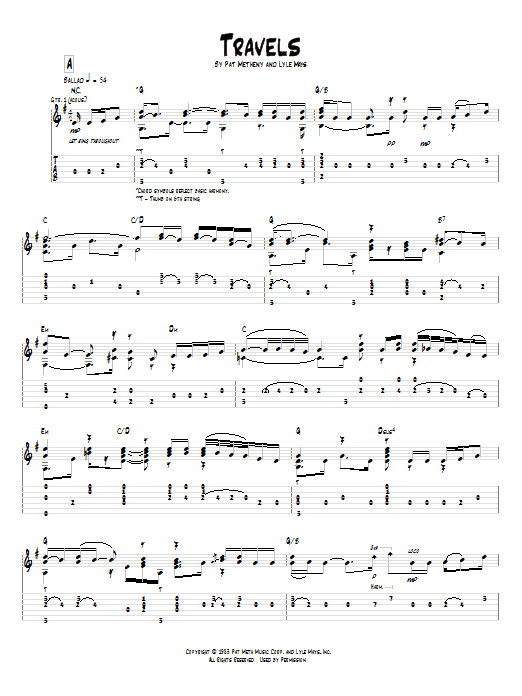 Tablature guitare Travels de Pat Metheny - Tablature Guitare