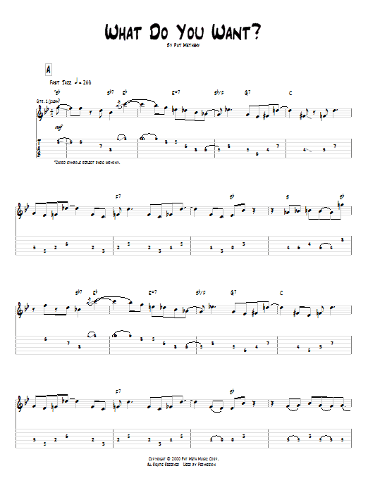 Tablature guitare What Do You Want? de Pat Metheny - Tablature Guitare