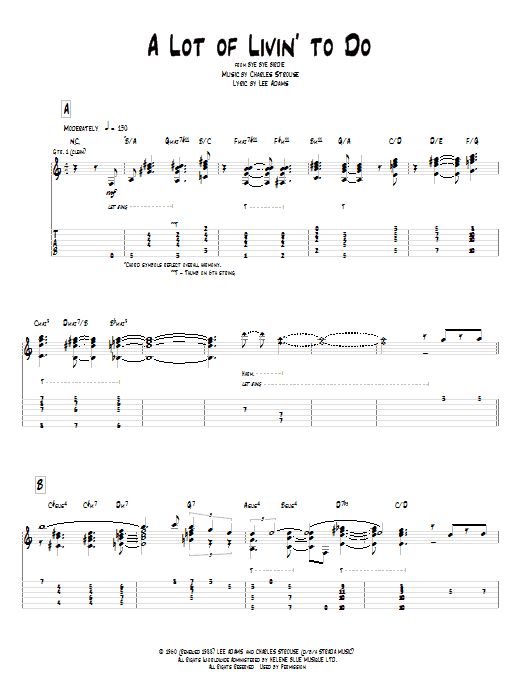 A Lot Of Livin' To Do sheet music for guitar solo (tablature) by Lee Adams
