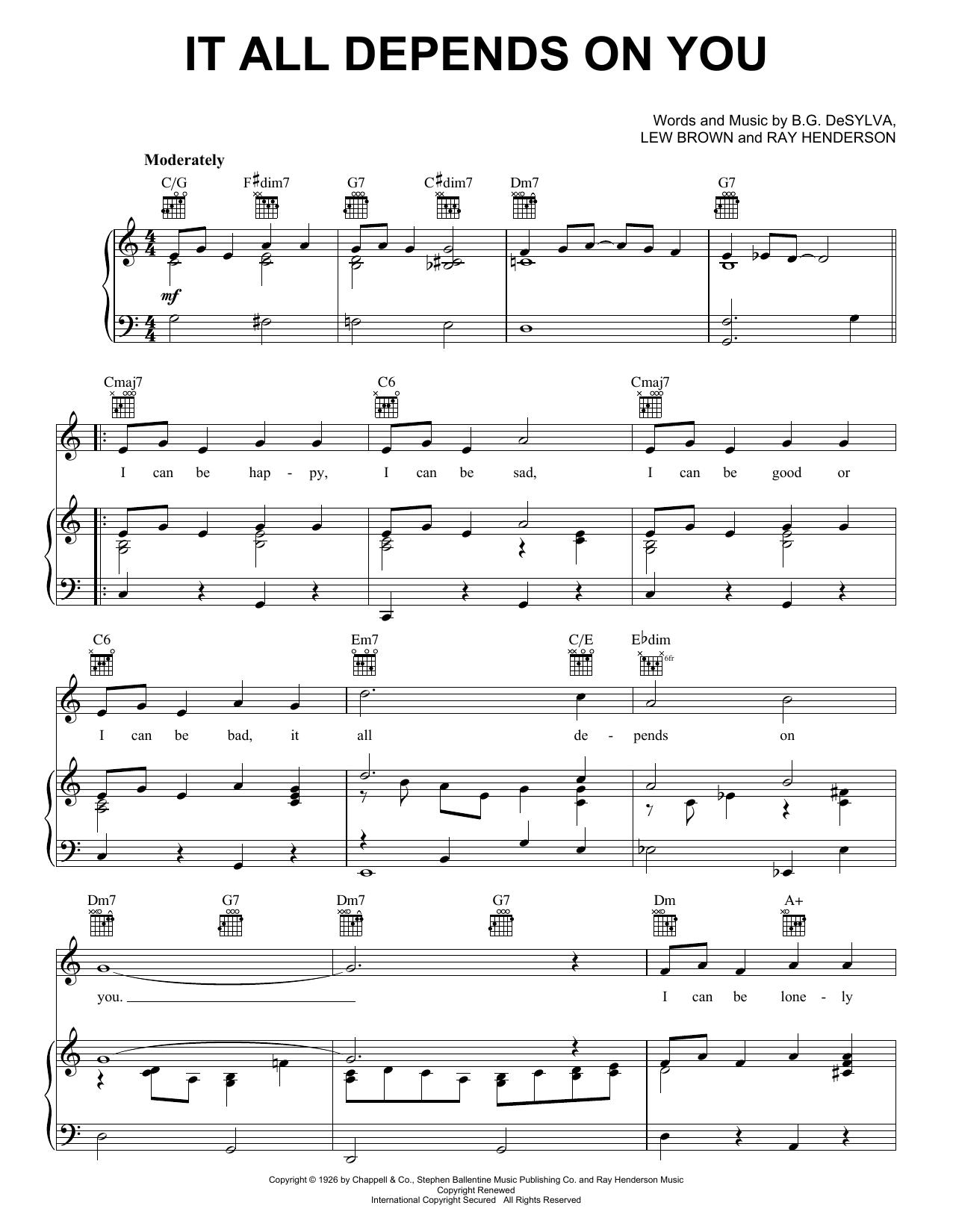 Partition piano It All Depends On You de Frank Sinatra - Piano Voix Guitare (Mélodie Main Droite)