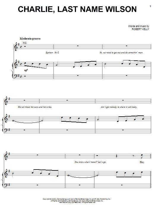 Partition piano Charlie, Last Name Wilson de Charlie Wilson - Piano Voix Guitare (Mélodie Main Droite)