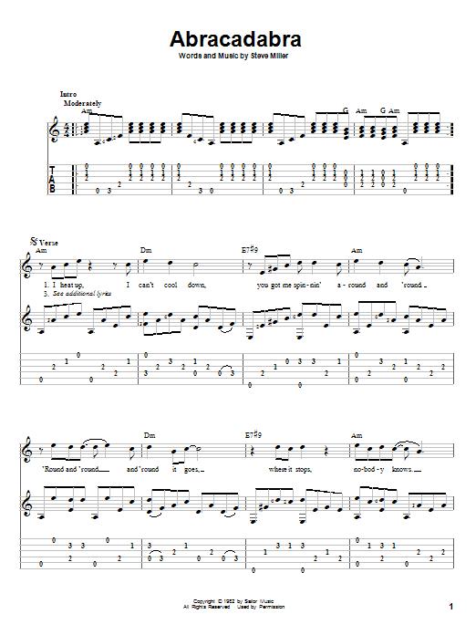 Tablature guitare Abracadabra de Steve Miller Band - Tablature Guitare