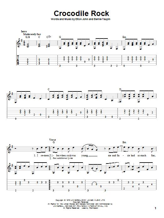 Tablature guitare Crocodile Rock de Elton John - Tablature Guitare