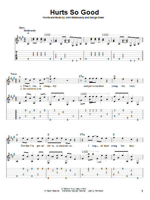 Tablature guitare Hurts So Good de John Mellencamp - Tablature Guitare