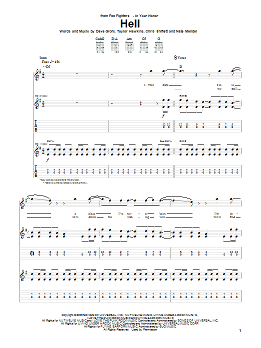 Tablature guitare Hell de Foo Fighters - Tablature Guitare