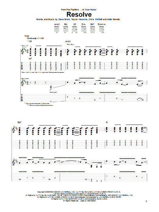 Tablature guitare Resolve de Foo Fighters - Tablature Guitare