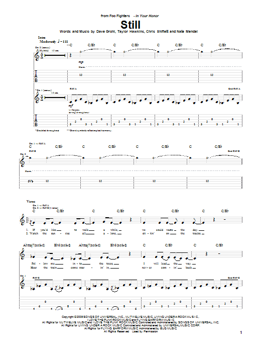 Tablature guitare Still de Foo Fighters - Tablature Guitare