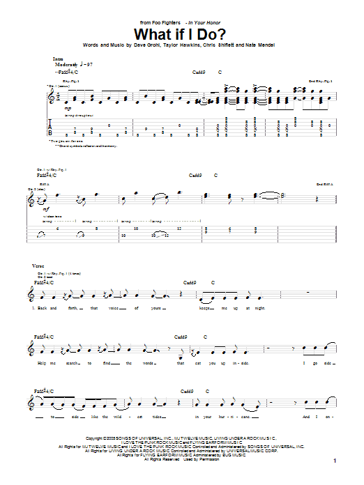 Tablature guitare What If I Do? de Foo Fighters - Tablature Guitare