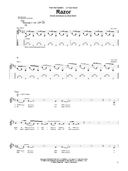 Tablature guitare Razor de Foo Fighters - Tablature Guitare