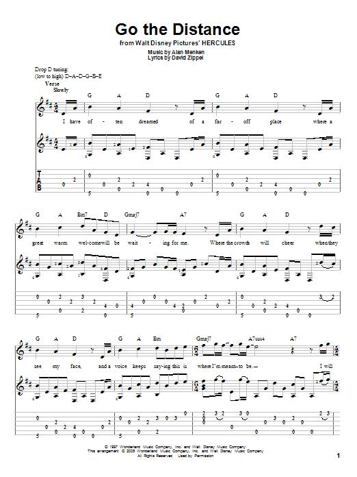 Tablature guitare Go The Distance de Michael Bolton - Tablature Guitare