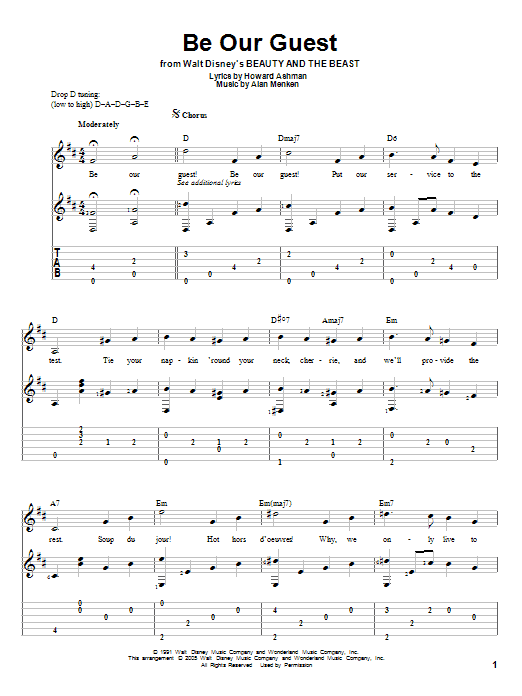 Be Our Guest sheet music for guitar solo by Howard Ashman