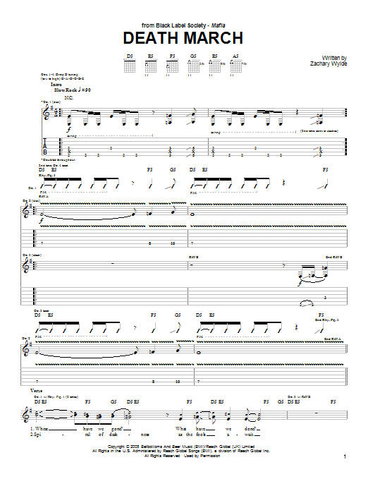 Death March sheet music for guitar solo (tablature) by Black Label Society