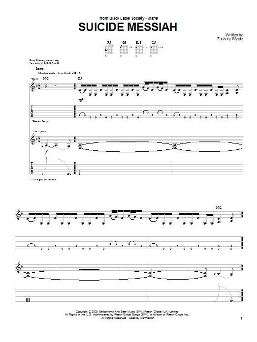 Tablature guitare Suicide Messiah de Black Label Society - Tablature Guitare