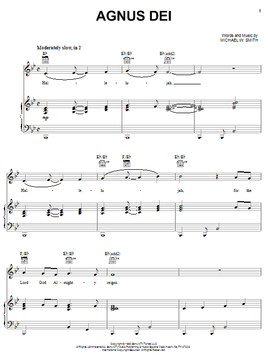 Agnus Dei sheet music for voice, piano or guitar by Donnie McClurkin