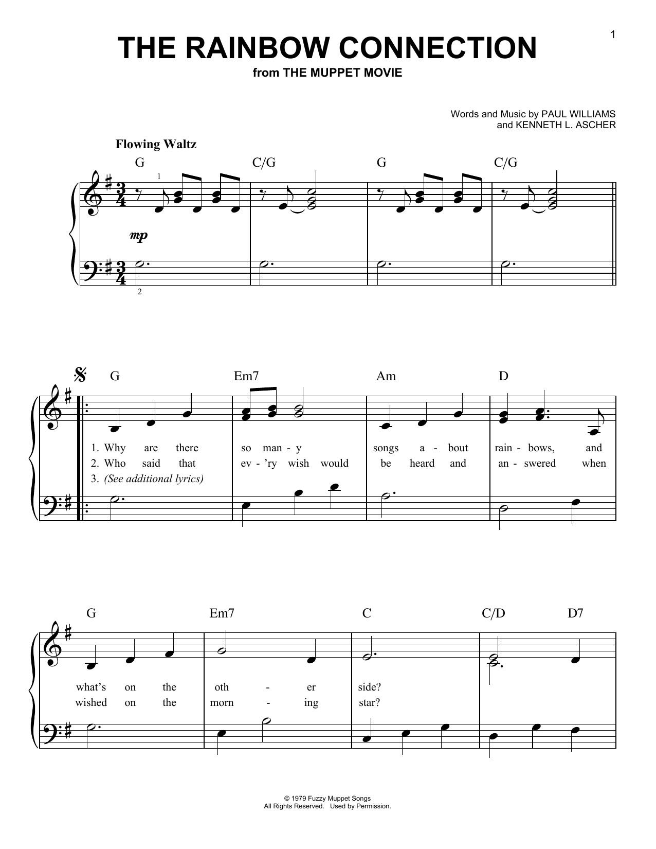 The Rainbow Connection sheet music for piano solo (chords) by Kenneth L. Ascher
