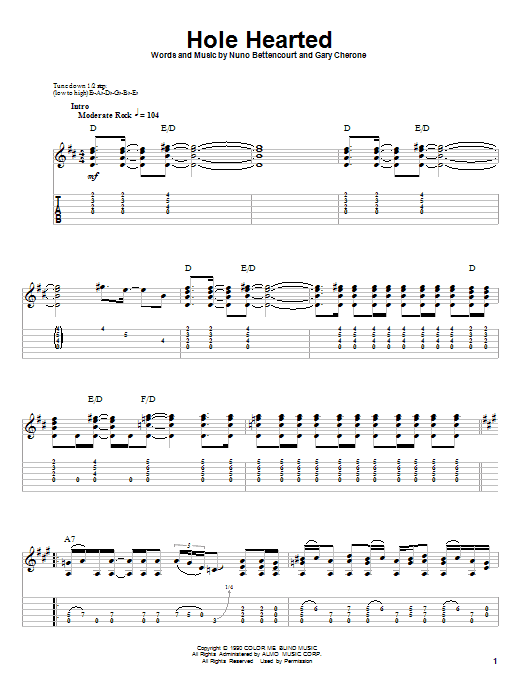 Tablature guitare Hole Hearted de Extreme - Tablature Guitare