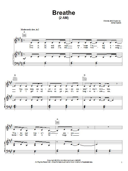 Partition piano Breathe (2 AM) de Anna Nalick - Piano Voix Guitare (Mélodie Main Droite)