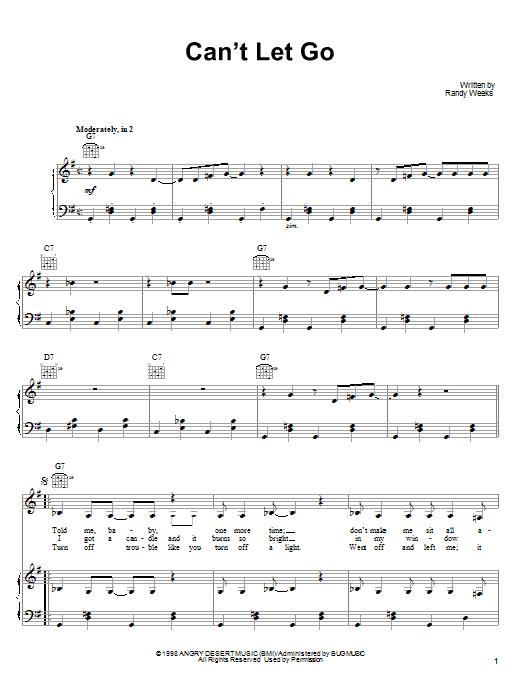 Partition piano Can't Let Go de Lucinda Williams - Piano Voix Guitare (Mélodie Main Droite)
