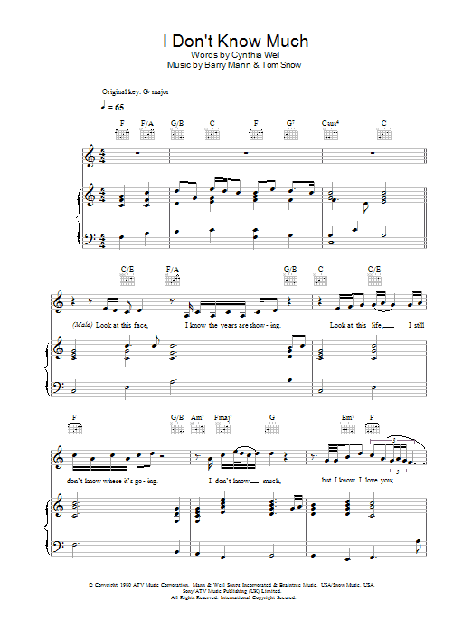 Don't Know Much sheet music for voice, piano or guitar by Tom Snow