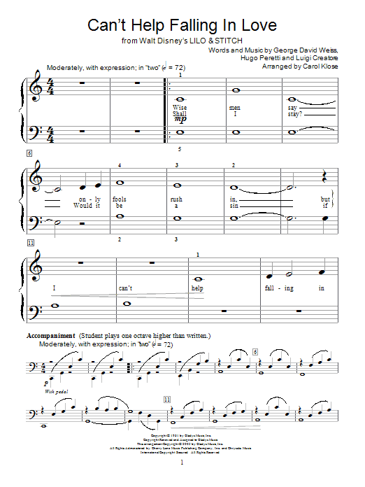 Partition piano Can't Help Falling In Love de Elvis Presley - Piano Facile