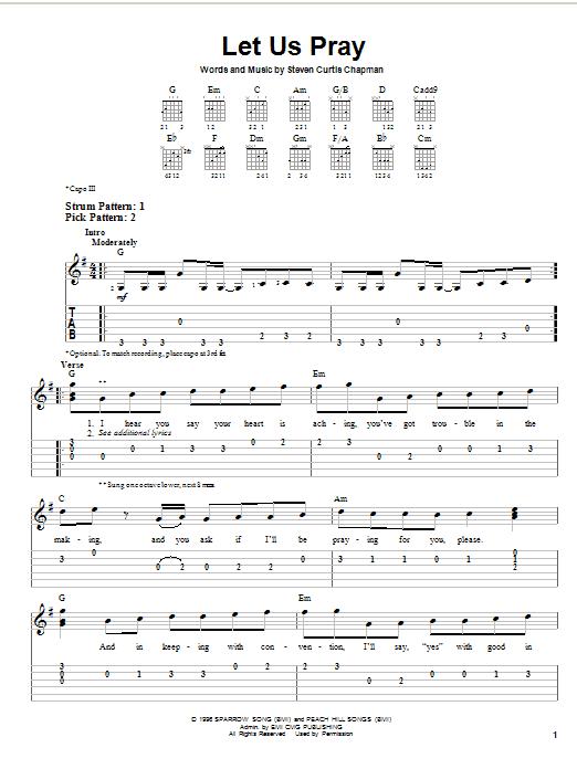 Tablature guitare Let Us Pray de Steven Curtis Chapman - Tablature guitare facile