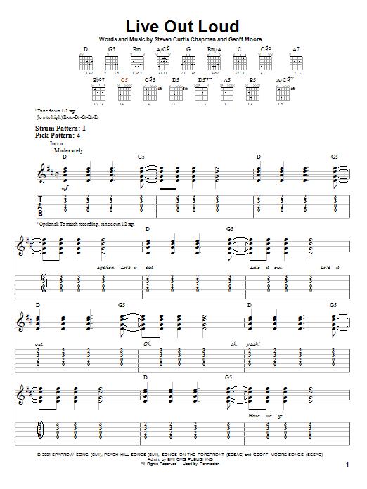 Tablature guitare Live Out Loud de Steven Curtis Chapman - Tablature guitare facile