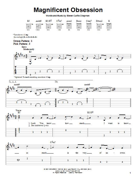 Tablature guitare Magnificent Obsession de Steven Curtis Chapman - Tablature guitare facile