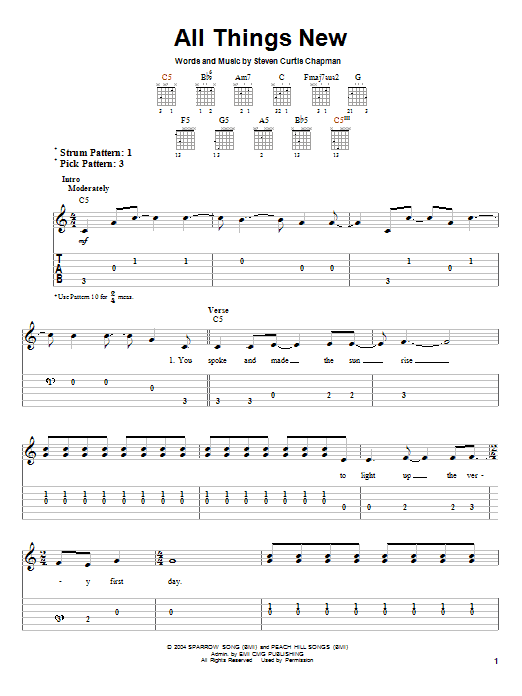 Tablature guitare All Things New de Steven Curtis Chapman - Tablature guitare facile