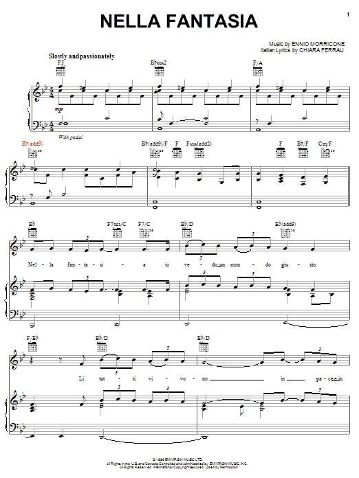 Nella fantasia sheet music by il divo piano vocal guitar right hand melody 52990 - Il divo nella fantasia ...