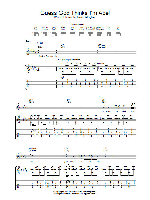 Guess God Thinks I'm Abel sheet music for guitar solo (tablature) by Liam Gallagher