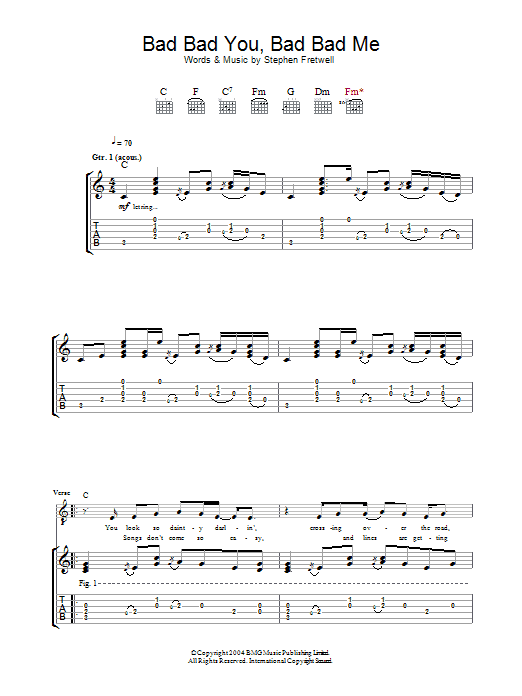 Bad Bad You, Bad Bad Me sheet music for guitar solo (tablature) by Stephen Fretwell