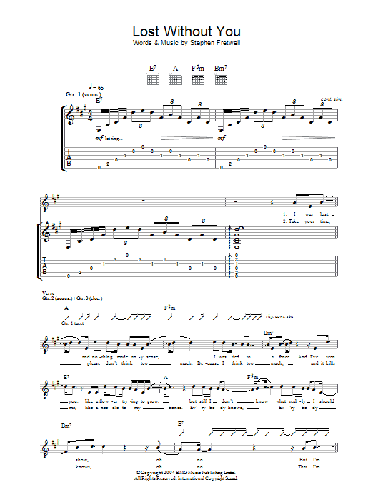 Lost Without You sheet music for guitar solo (tablature) by Stephen Fretwell