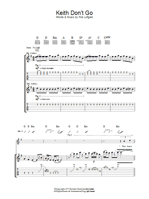 Keith Don't Go sheet music for guitar solo (tablature) by Nils Lofgren