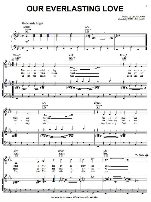 Our Everlasting Love sheet music for voice, piano or guitar by Leon Carr