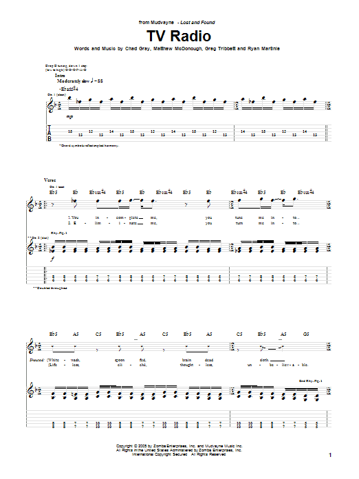 Tablature guitare TV Radio de Mudvayne - Tablature Guitare