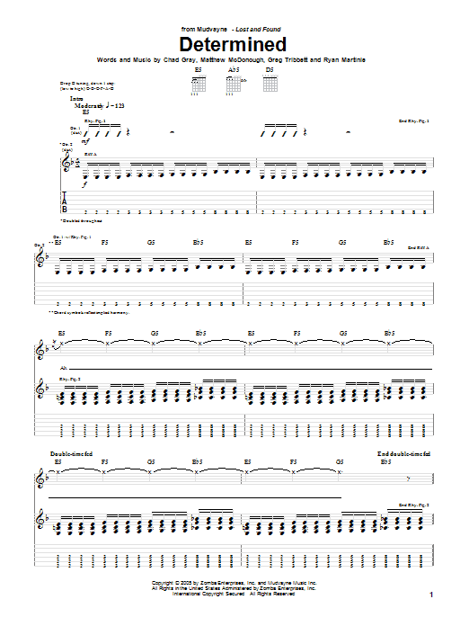 Determined sheet music for guitar solo (tablature) by Ryan Martinie