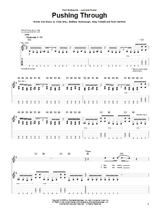 Tablature guitare Pushing Through de Mudvayne - Tablature Guitare