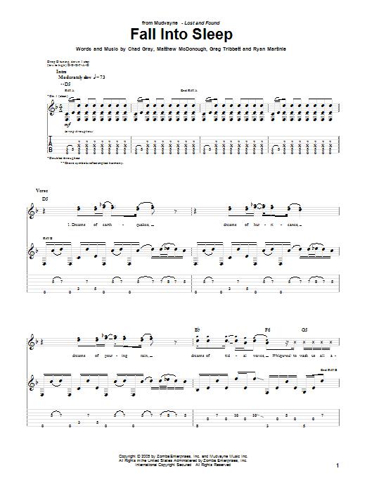 Tablature guitare Fall Into Sleep de Mudvayne - Tablature Guitare
