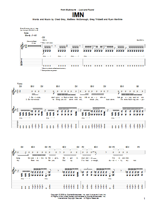 Tablature guitare IMN de Mudvayne - Tablature Guitare