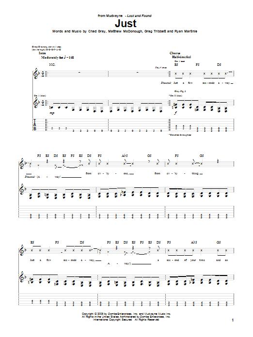 Tablature guitare Just de Mudvayne - Tablature Guitare