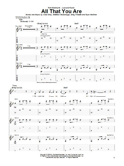 Tablature guitare All That You Are de Mudvayne - Tablature Guitare