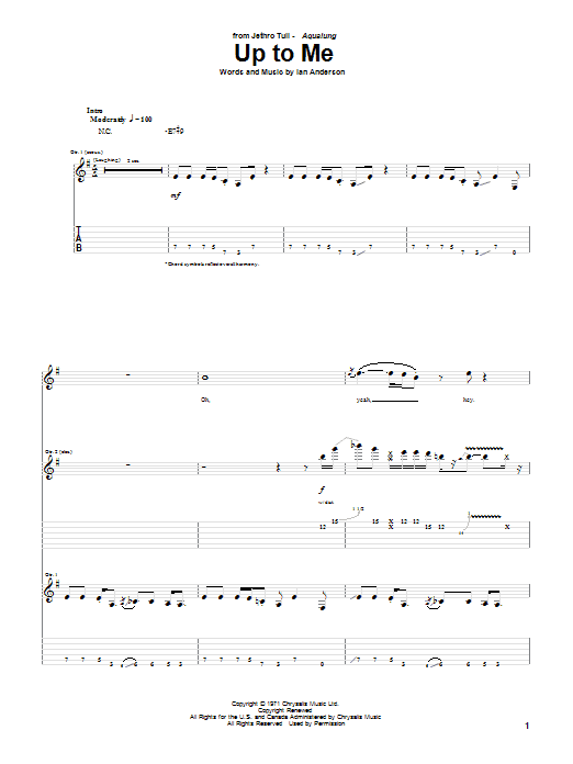 Tablature guitare Up To Me de Jethro Tull - Tablature Guitare